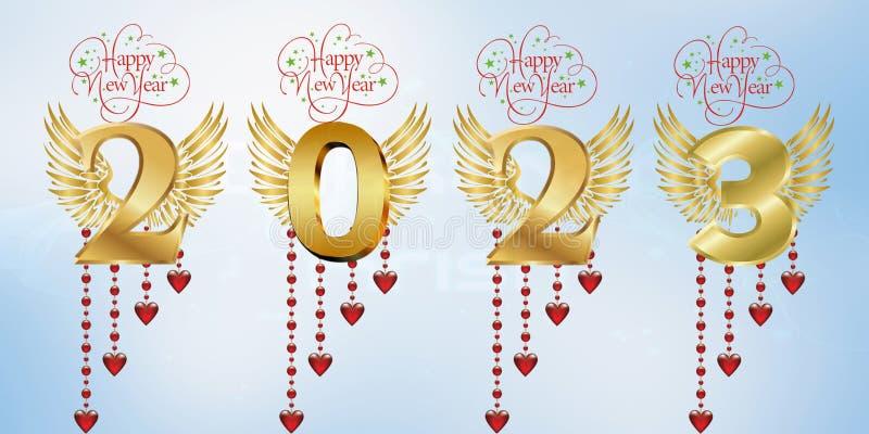 Lyckligt nytt år 2023 royaltyfri illustrationer
