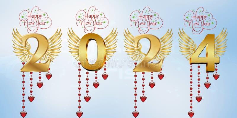 Lyckligt nytt år 2024 royaltyfri illustrationer