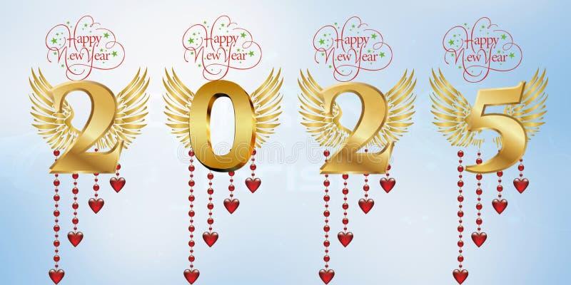 Lyckligt nytt år 2025 royaltyfri illustrationer