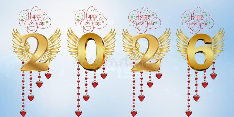 Lyckligt nytt år 2026 stock illustrationer