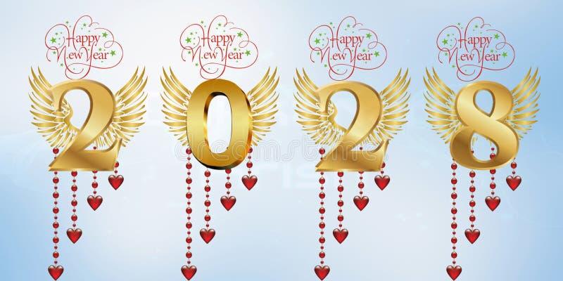 Lyckligt nytt år 2028 stock illustrationer