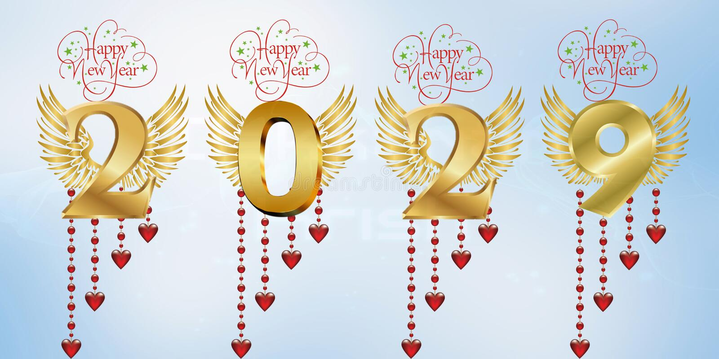 Lyckligt nytt år 2029 stock illustrationer