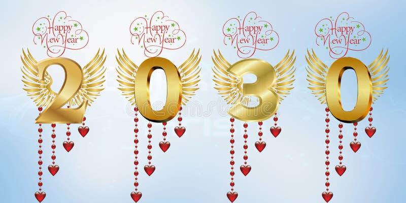 Lyckligt nytt år 2030 stock illustrationer