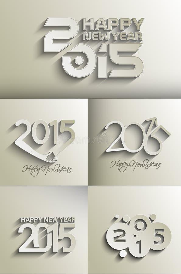 Lyckligt nytt år 2015 vektor illustrationer