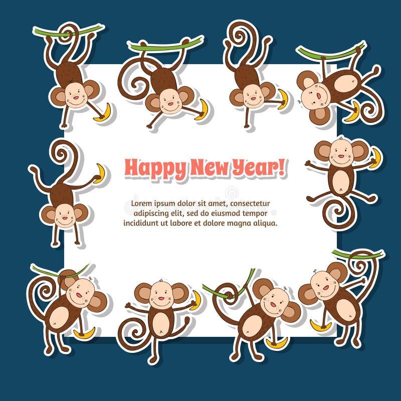 Lyckligt nytt år 2016 royaltyfri illustrationer