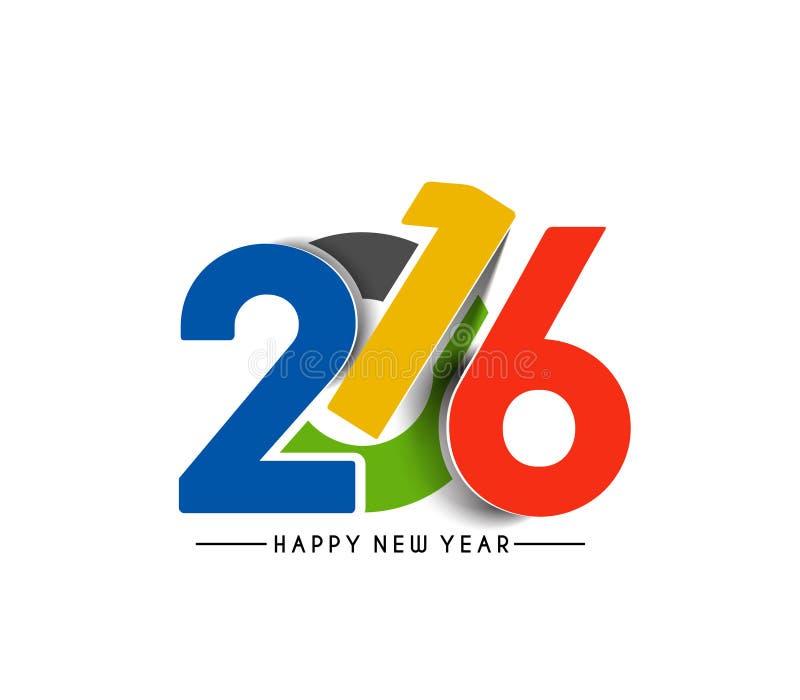 Lyckligt nytt år 2016 stock illustrationer