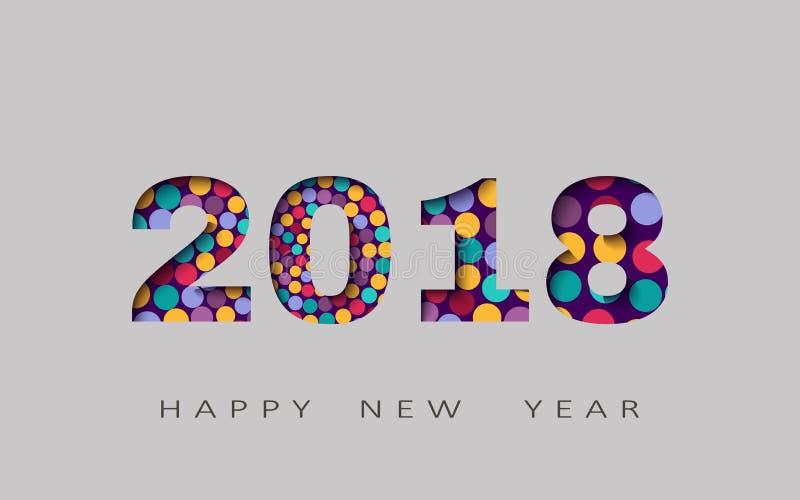 Lyckligt nytt år abstrakt design 3d, vektorillustration 2018 stock illustrationer