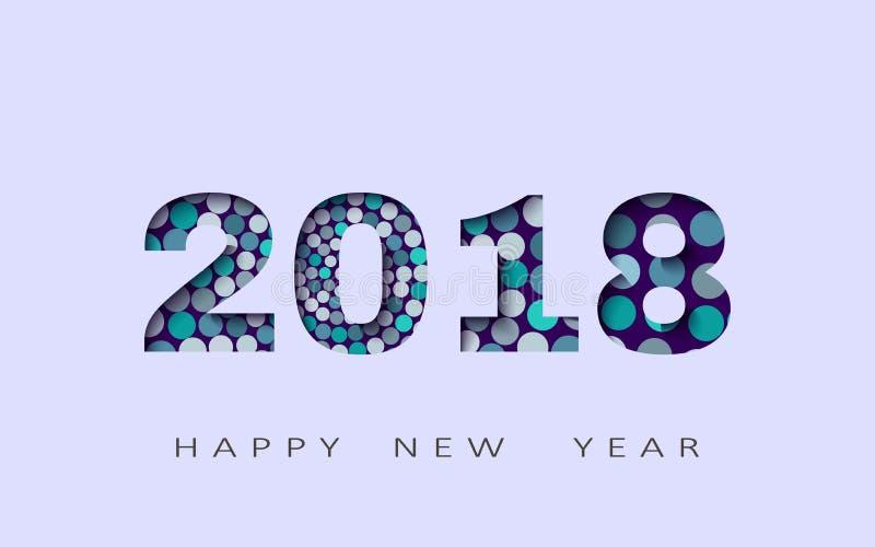 Lyckligt nytt år abstrakt design 3d, vektorillustration 2018 royaltyfri illustrationer