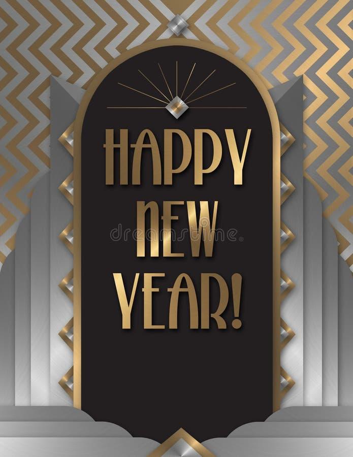 Lyckligt nytt år Art Deco Invitation royaltyfri illustrationer