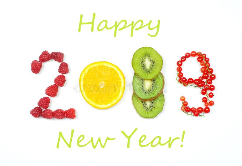 Lyckligt nytt år 2019 av frukt och bär på den vita bakgrunden fotografering för bildbyråer