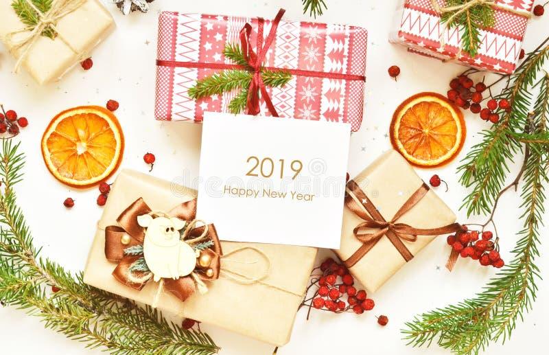Lyckligt nytt år 2019 År av svinet royaltyfri bild