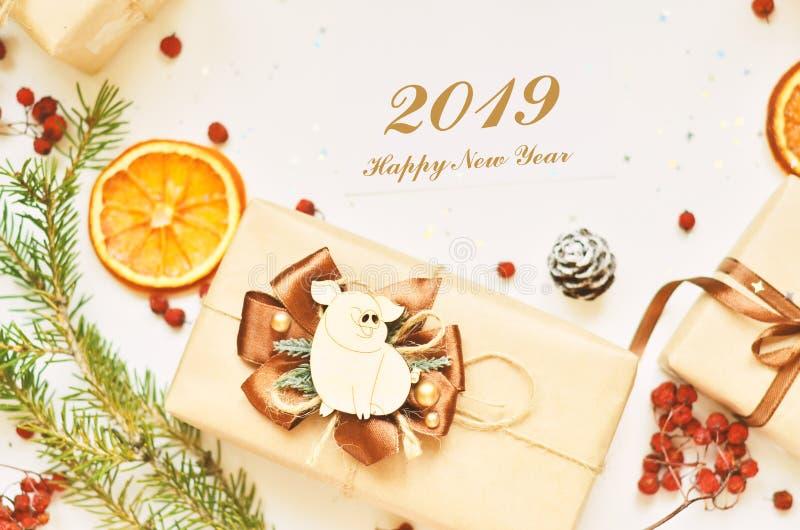 Lyckligt nytt år 2019 År av svinet royaltyfri fotografi