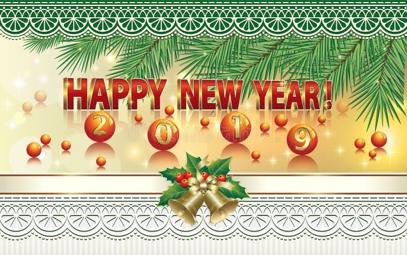 Lyckligt nytt år 2019 Baner för nytt år med prydliga filialer, bollar, klockor och prydnaden också vektor för coreldrawillustrati vektor illustrationer