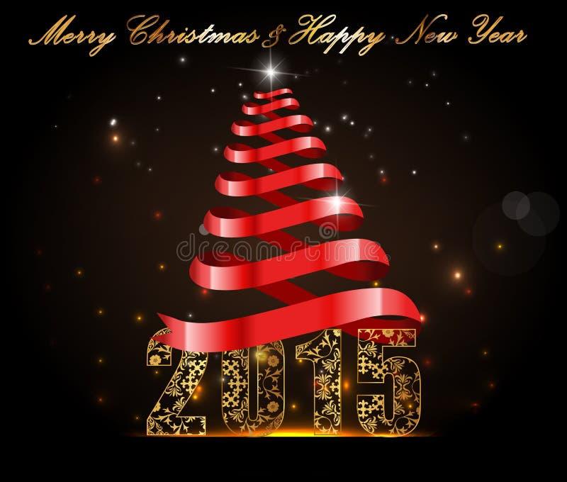 Lyckligt nytt år 2015, berömbegrepp med guld- text royaltyfri illustrationer