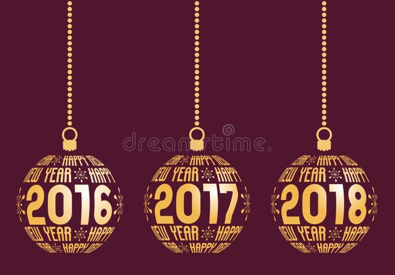 Lyckligt nytt år 2016, 2017, 2018 beståndsdelar vektor illustrationer