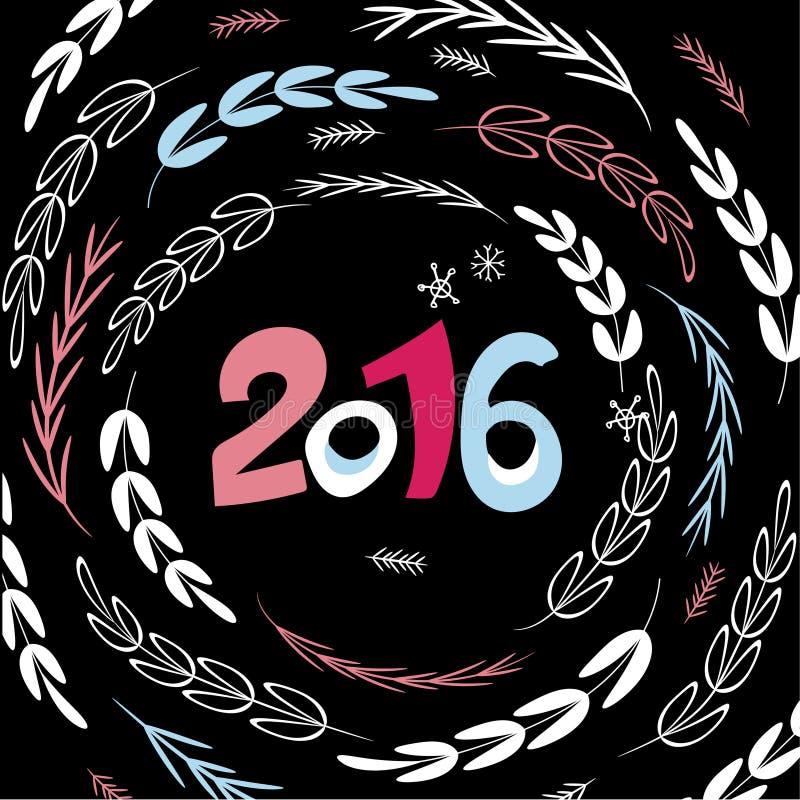 Lyckligt nytt 2016 år! Dekorativ mall för hälsningkort royaltyfri illustrationer