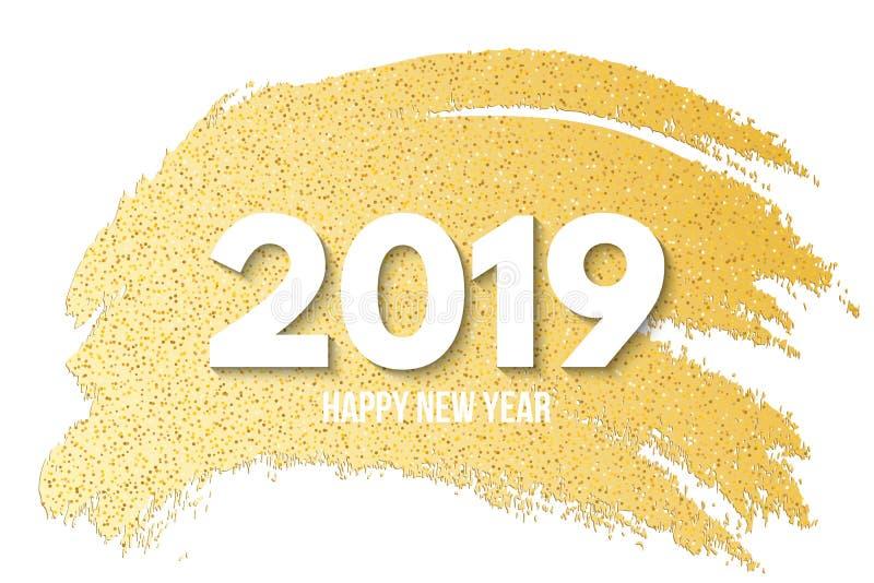 Lyckligt nytt år 2019 Det lyxiga banret av guld- blänker tecknad hand Guld- borste i grungestil Guld- linje av suddet och paljett royaltyfri illustrationer
