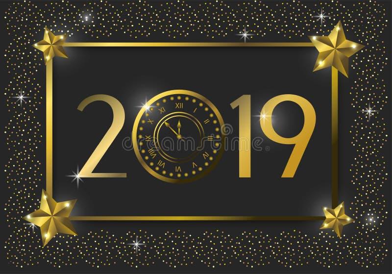 Lyckligt nytt 2019 år emblem med stjärnor royaltyfri illustrationer