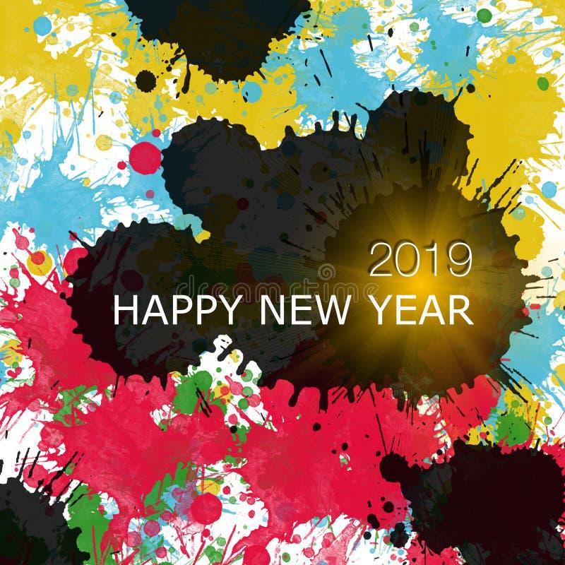 Lyckligt nytt år 2019, en variation av färger, färgdroppar royaltyfri illustrationer