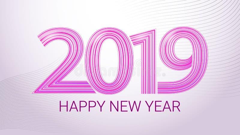 Lyckligt nytt år 2019 färgrik vektor för baner Lilabokstäver på en vit bakgrund vektor illustrationer