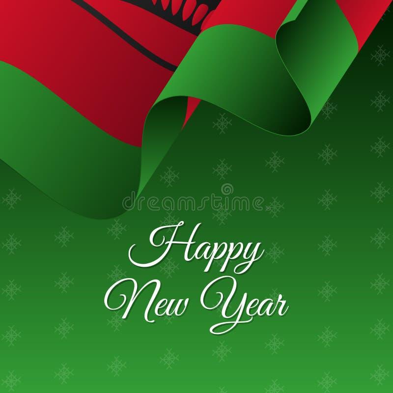 lyckligt nytt år för baner Malawi vinkande flagga för designdiagram för bakgrund dekorativ vektor för snowflakes för illustration vektor illustrationer
