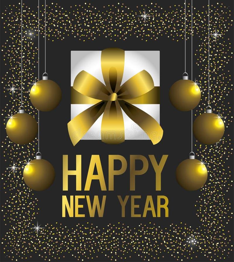 lyckligt nytt år för bolljul royaltyfri illustrationer