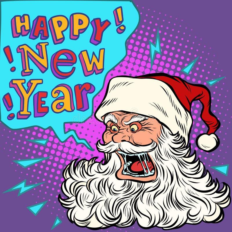 Lyckligt nytt år för dålig jultomten stock illustrationer