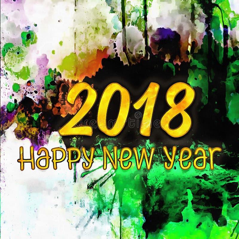 Lyckligt nytt år 2018/för färgrik bakgrund stock illustrationer