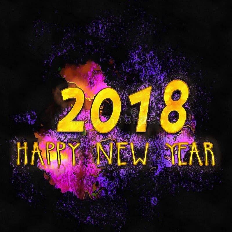 Lyckligt nytt år 2018/för färgrik bakgrund royaltyfri illustrationer