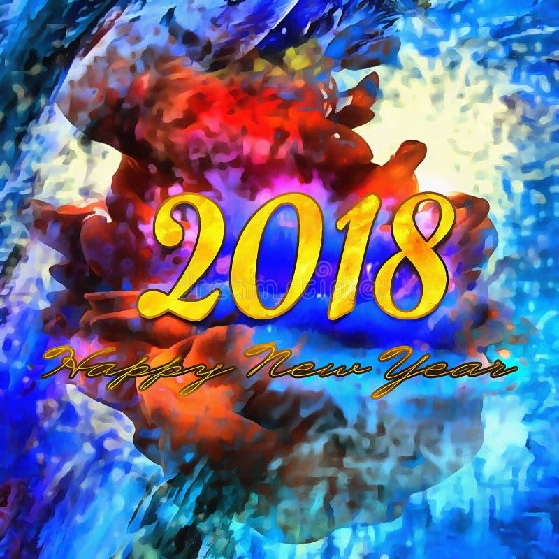 Lyckligt nytt år 2018/för färgrik bakgrund vektor illustrationer