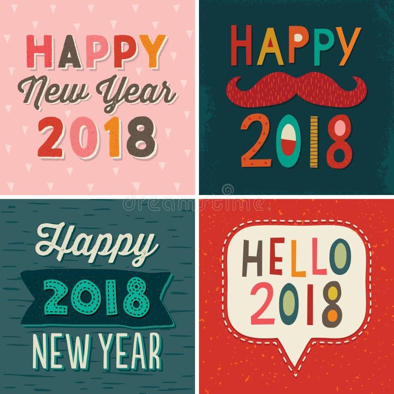 Lyckligt nytt år 2018 för fyra typografisk kortdesigner vektor illustrationer