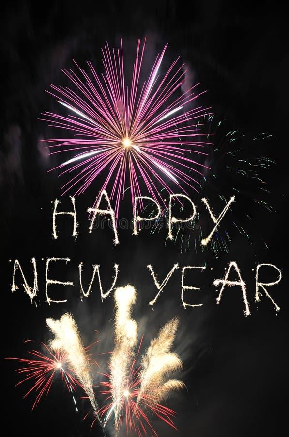 lyckligt nytt år för fyrverkerier arkivfoto