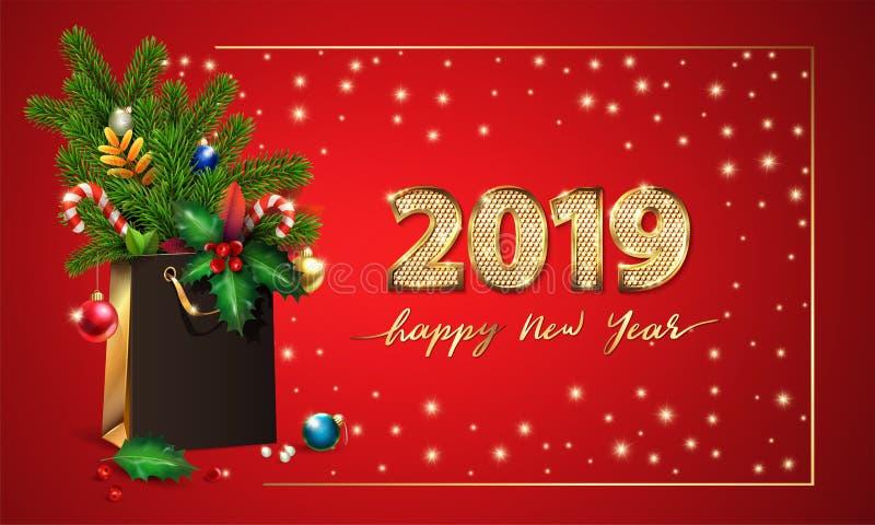 Lyckligt nytt år för guld- vektortext och 3d guld- siffror 2019 påse för shopping 3d, gran, granfilialer, julleksaker, järnek royaltyfri foto