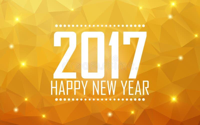 Lyckligt nytt år 2017 för hälsningkort Polygonal bakgrund, stjärnor, ferie, sken vektor illustrationer