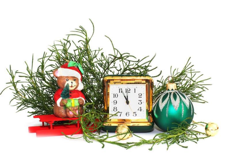 lyckligt nytt år för julsammansättning för bauble blått exponeringsglas arkivfoto