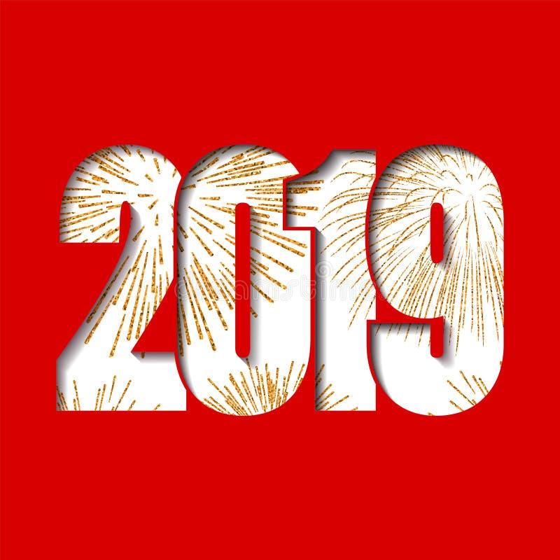 lyckligt nytt år för kort Det vita numret 2019 med guld mousserar, isolerad röd bakgrund guld- fyrverkeri Ljus design för vektor illustrationer