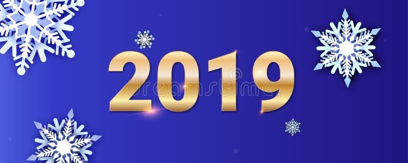 lyckligt nytt år för korthälsningar Guld- nummer 2019 på bakgrund av snönedgången Volymetriskt mång- i lager snöflingasnitt stock illustrationer