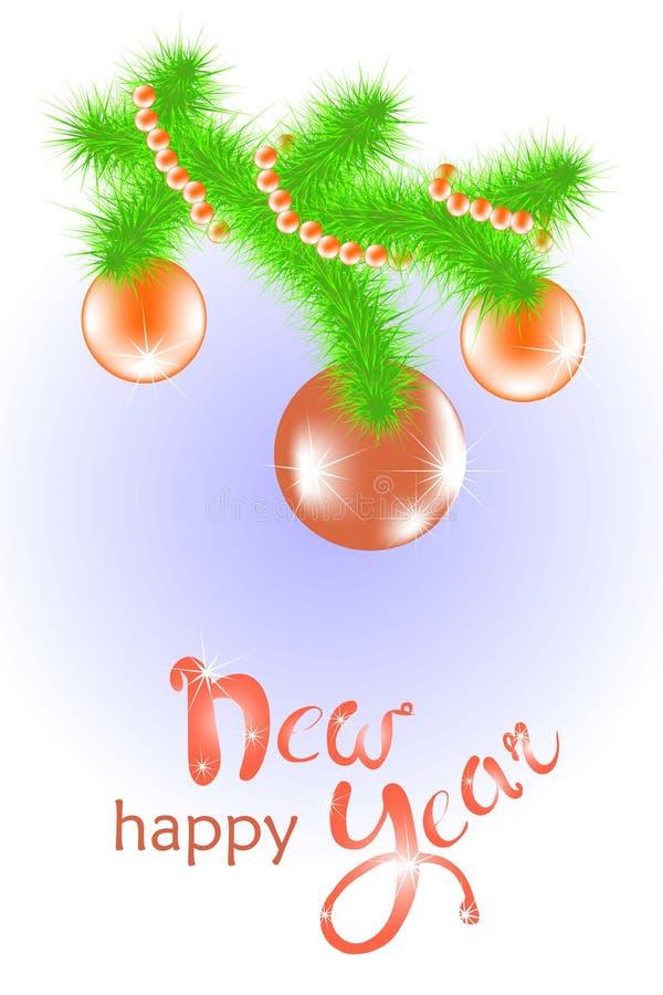 Lyckligt nytt år för lyckönskankort, hand som drar röd bokstäver, bollar, grönt filialjulträd stock illustrationer