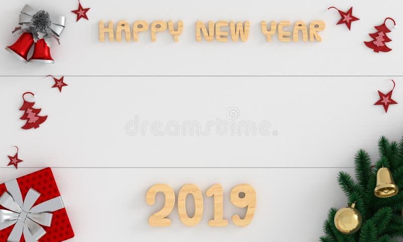 Lyckligt nytt år 2019 för trä på det vita golvet, tolkning 3d arkivbild