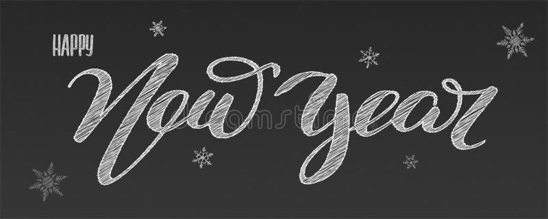 lyckligt nytt år Ferier som märker, handskriven kritainskrift på skolasvart tavla Klottra snöflingan, klotterstil stock illustrationer