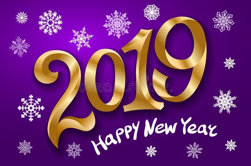 Lyckligt nytt år 2019 greeting lyckligt nytt år för 2007 kort Tvåtusen och nitton guld- nummer för band på violett bakgrund snöfl royaltyfri illustrationer
