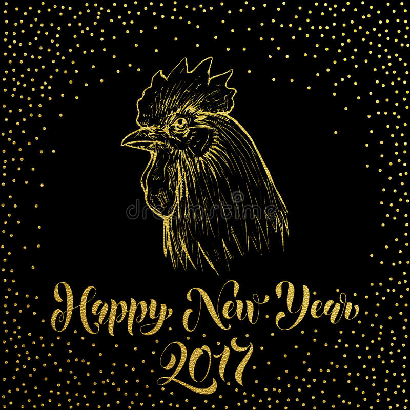 Lyckligt nytt år 2017 Guld blänker tupphanen stock illustrationer