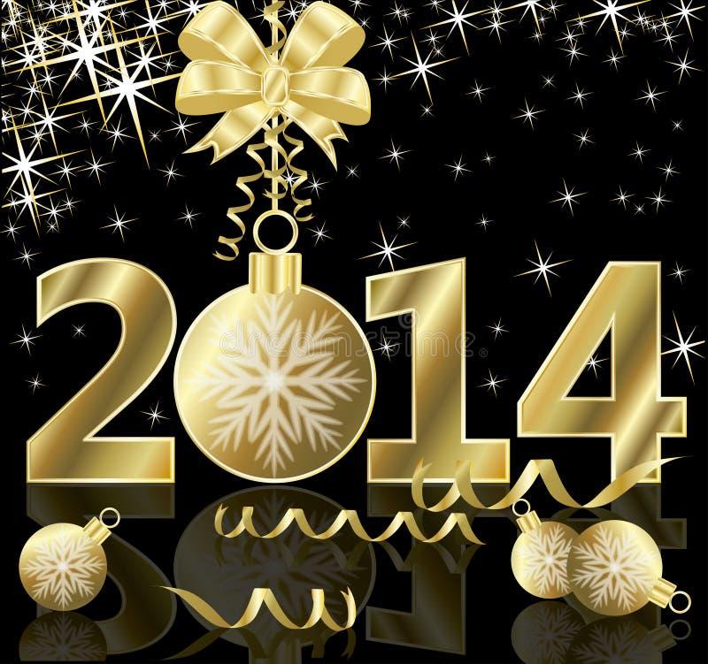 Lyckligt nytt 2014 år hälsningkort stock illustrationer