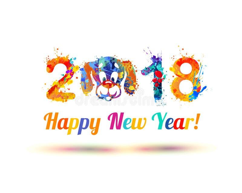 Lyckligt nytt år 2018 Hunden tystar ned stock illustrationer