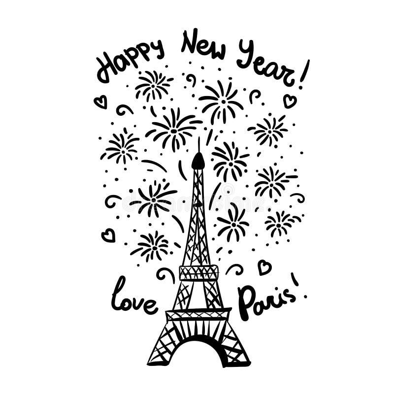 Lyckligt nytt år i det Paris kortet Eiffeltorn för färgpulver för vektorillustrationsvart med honnör royaltyfri illustrationer