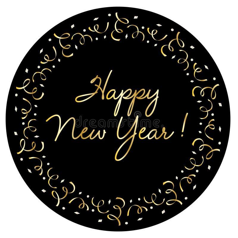 Lyckligt nytt år i guld- konfettiram för silver stock illustrationer
