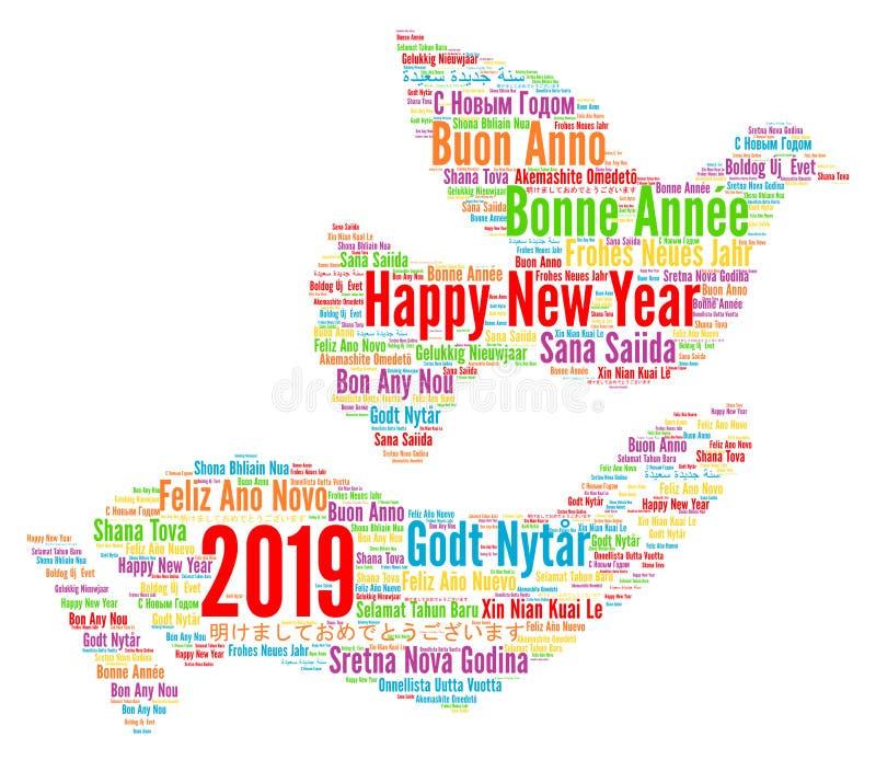 Lyckligt nytt år 2019 i olika språk vektor illustrationer
