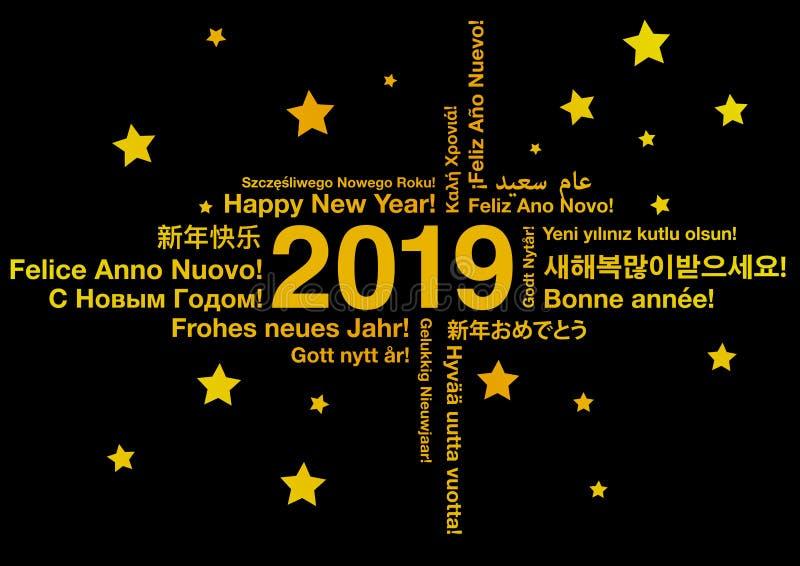 Lyckligt nytt år 2019 i olika språk stock illustrationer