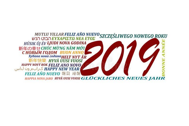 Lyckligt nytt år 2019 i olika språk av världen, vit b stock illustrationer