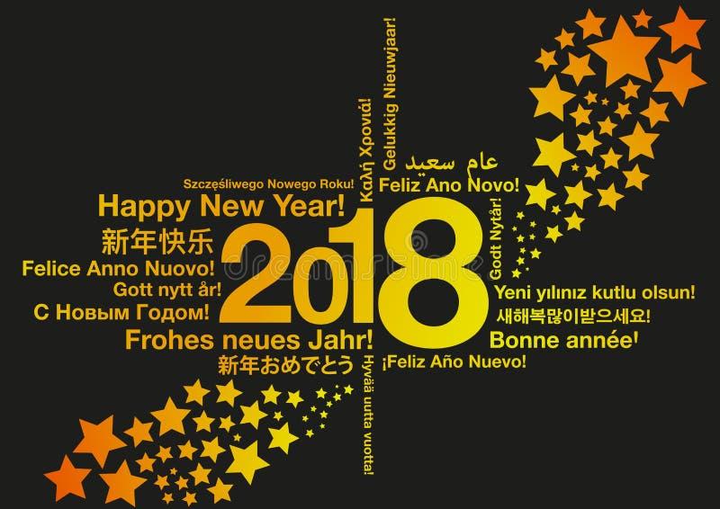 Lyckligt nytt år i olika språk med stjärnor vektor illustrationer